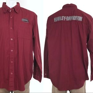 Harley Davidson Maroon Button Up Logo Long Sleeve